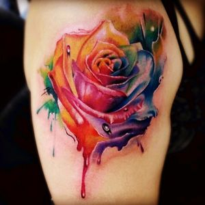 I love this tattoo, but its a beautiful symbol for gay pride. My thoughts go to everyone in Orlando with the horrible event that happened.<3 #GayPride #rainbow #beautiful #rose #floral #color #orlando #florida #detail #love
