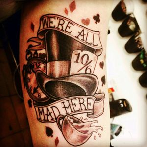#aliceinwonderland #madhatter #wereallmadhere #blackandgrey #tophat #teacup #pocketwatch #freshink #toronto #Lucky13Tattoo