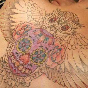 #backpiece #sugerskull #TATTOOOWL #tattoooftheday