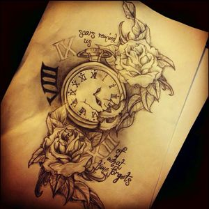 """#dreamtattoo #pocketwatch #roses #meaning #meaningful @amijames a mix of old school traditional for the pocket watch and realism for the roses with a quote going around it .. """" how long is forever? .. Sometimes, just one second"""""""