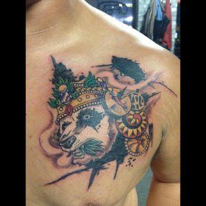 1st tattoo. 1 sitting. Panda King. #panda #fullcolor #1sttattoo #1sitting #tattoo #chilipepper #marijuana #420