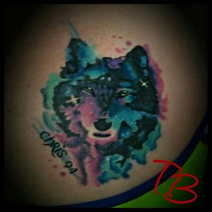 Watercolor/galaxy style wolf done at Freedom Tattoo in Hixson TN thanks for checkin it out  #chattanoogatattoo  #tennesseeartist  #wolf #wolftattoo #watercolor #galaxy #fusionink