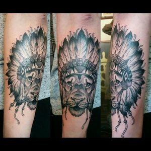 Got this Cool Tattoo 3 weeks ago here in #copenhagen at  #brightsidetattoo #liontattoo #lion #IndiaInspiredtattoos #indianfeatherstyle #tattoodotwork #blackAndWhite