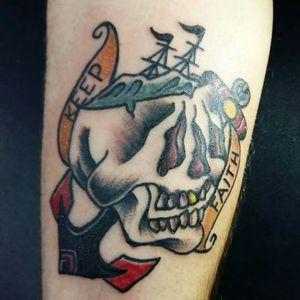 #skull #navytattoo #traditional #traditionalskull #skulltattoo #oldskull #oldschool #bright_and_bold #boldlines #oldlines