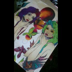 #tattoodrawing #tattooart #prismacolor #prismamarkers #neotraditional #art #artwork #artist #drawing #draw #tattoo #sketches #sketch #birds #birds #teeth #girl #woman