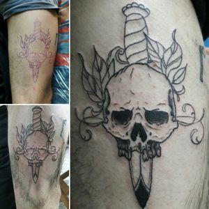 Darkness* #skull #tattoo #firstsession #owndesign #leaves #dagger #sünrise