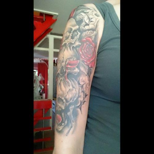 Upperarm right, hear-see-talk no evil #rose #skulls #upperarm