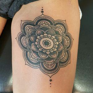 #mandala tattoo.....one session used #worldfamousink #cheyennehawk #elektrumstencilfluid #fantomneedles