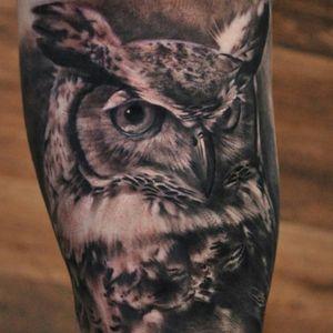 Sick black & grey realistic horned owl tattoo #dreamtattoo #mydreamtattoo