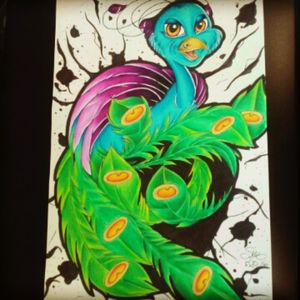 Sometimes you gotta have fun #newschool #color #drawing #apprentice #empireink #empiretattoo #empireinklifestyle #southflorida #Boca #peacock #newschoolpeacock #prisma #prismacolor