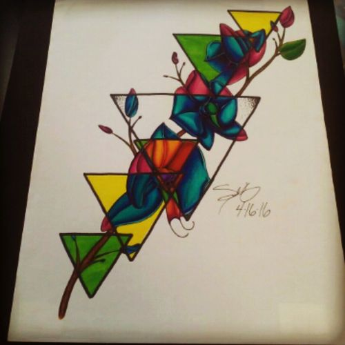 #apprenticeship #empireink #empiretattoo #empireinklifestyle #color #drawing #orchids #geometry #newschool #Boca #bocaraton #southflorida