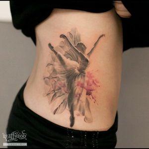 Beautiful black & grey with pink flowers, ballerina dancing tattoo #dreamtattoo #mydreamtattoo