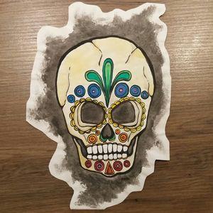 #sketchbook #watercolor #sugarskull #sugarskullpainting