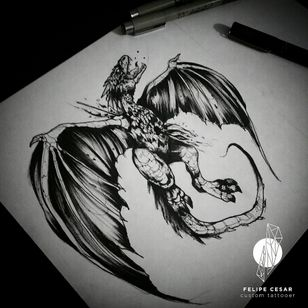 - Targaryen. #felipecesar #blackwork #blackworkers #blackworktattoo #blacktattoo #dotwork #linework #brazil #braziliantattooers #gameofthrones #gameofthronestattoo #drawing #pointillism #illustration #ink #nankin #dragon #targaryen