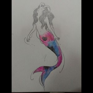 The cosmus inside. #siren #mermaid #watercolor #universe #nebula #stars #demon