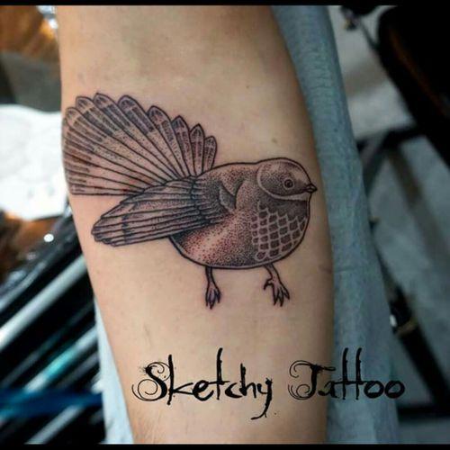 #fantail #bird #dotwork #blackwork #nztattoo #kakapoink #sketchytattoo