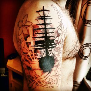First sitting of my #firsttattoo and #fullsleeve done. A #tribute to #friends and #colleagues and #mylife in the #military . #ship #tallship #sail #sunset #atthegoingdownofthesun #hibiscus #caribean #flower #flowers #poppy #rememberance #dragonfly #nautical #floral #silhoutte