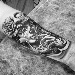 Catrina Black and Gray #dallier #tattoodo #blackandgraytattoos #blackAndWhite #artes #arte #arts #art #katrina #catrina #mexico
