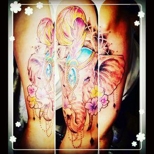 #elephanttattoo #colorfultattoo #elephant #armpiece #arm #mandala