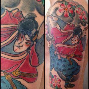 #japanesetattoo #halfsleeveinprogress #halfsleeve #japanese #samurai #color #flowers