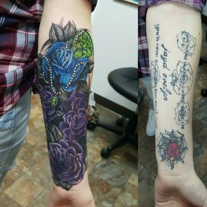 Ridiculous #cover-up! Sometimes only #roses can save you. One of my favorite #coveruptattoos I've done. #pearls #greengem #bluerose #purpleroses #sovereigntattoo #camscott #billingsmontanatattoostudio #besttattooshopsinbillingsmontana #fusionink #unionmachine #eikondevice #hydraneedles #neotat #customtattosbillingsmontana #customtattosbillingsmontana  #lettering #disaster #horrific #tattoonightmare