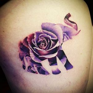 Pretty tattoo by #antbate  at MLTC Chester  #elephantrose #elephant #rose #watercolortattoo