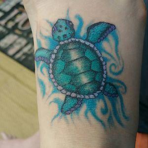 My first tattoo!!! #firsttattoo #seaturtletattoo #seaturtle #waterwork #colorful