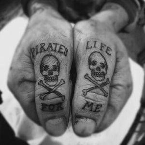 A Pirates Life For Me #pirate #piratetattoo #apirateslifeforme #awesome #epic #epicness #skull #thumbtattoo