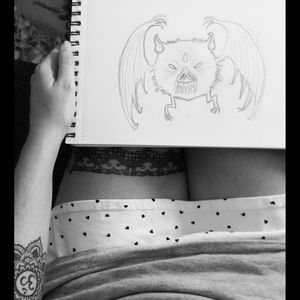 Copy of a bat tattoo. Love it so much.#tete #tattoo #design #draw #blackAndWhite #blackandwhite #cool #gartertattoo #ommandala #om #mandala #alternativegirls #inkedbabes