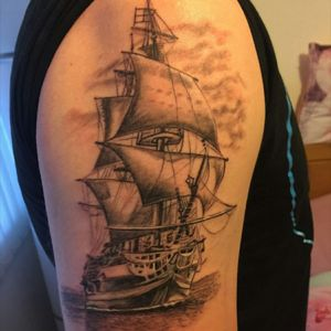 Pirate ship black+grey 2nd piece of the road to the full sleeve  #pirate #pirateship #pirateshiptattoo #blackandgrey #sealife
