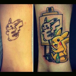 Clever cover-up style tattoo Pikachu  #Pikachu #pokemon #pokemontattoo #cute #coverup #awesome #epic #epicness