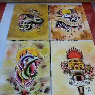 Originais 2007/2008, pintados com tinta de tattoo #flashtattoo #tattoo #tatuagem #tattoos #customtattoos #loveclassictattoos #traditionaltattoos #oldschool #boldline #tattooart #besttattooartists #tattooartist