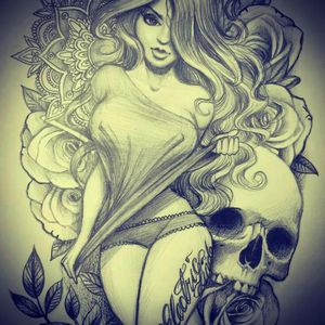 Super sexy pinup with a skull, flowers, and henna. #sexy #epic #epicness #awesome #pinup #pinuptattoo #skull #flower #rose #henna