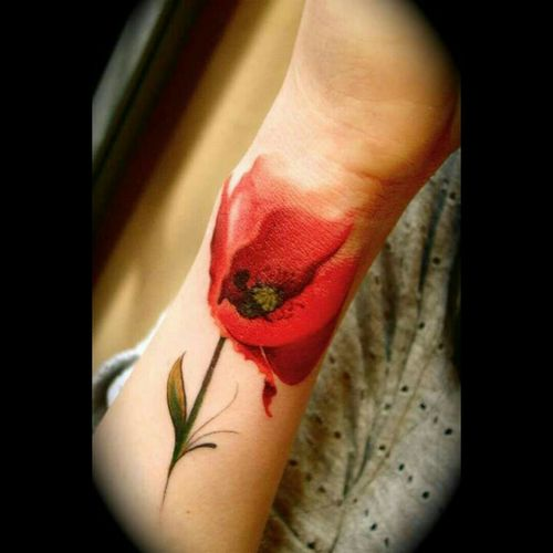 #paparouna in Greek.. #flower #romantic #watercolor #aquarela #aquarelltattoo #beautiful #unique #girly #style #pastel #red #hand #beautiful #work