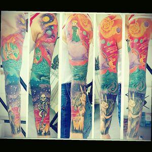 #tattoo #sleeve #ChiaraBautista #harrypotter #darkmark #planets #thelittleprince #literature #literarytattoos #color #fullcolor #book #bookcharacters #bookworm