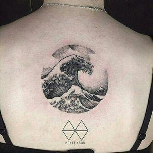 Great Wave tattoo by Won #MonkeyBob #greatwaveoffkanagawa