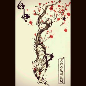 Tribal tiger with cherry blossom tree. #tiger #tribal #tribaltiger #japanese #awesome #epic #epicness