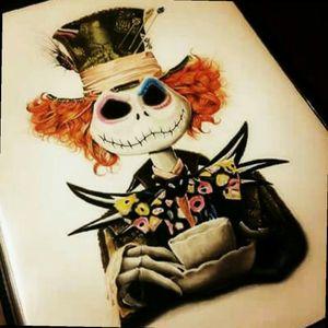 Was looking for a Tim Burton themed tattoo and I like Alice in Wonderland and Nightmare Before Christmas, whataya think? #TimBurton #madhatter #aliceinwonderland #jackskellington #nightmarebeforechristmas