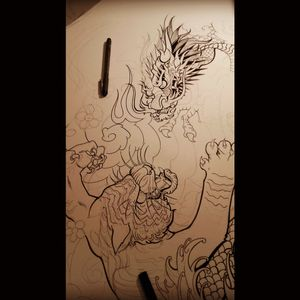 Sketches. .. #dragon #japanese #sketch #japanesetiger #japanesedragon