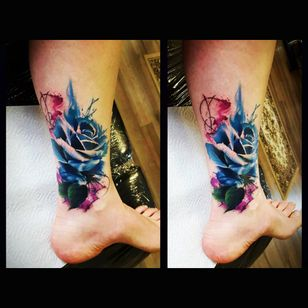 By #antbate #rose #watercolortattoo #abstract #flower #coverup