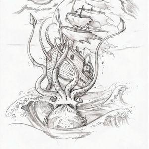 Think I want something like this next on my side #giantsquid #pirateshiptattoo