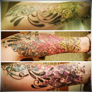 Mother's Day tattoo representing my kids. Each flower represents the birth month for each of my children and the colors are their birthstones. The underside represents the month i meet my hubby.
