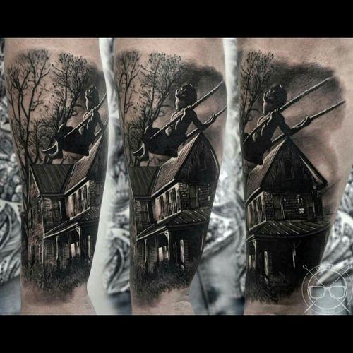 #blackandgrey  #blackandgreytattoo  #scenery  #besttattoos  #dreamtattoo  #child  #hauntedhouse  #detail #swing  #horror #horrortattoo  #dark #perfection  #tattoo  #Lightsout #blackandgreysleeve  #blackandgreyrealism