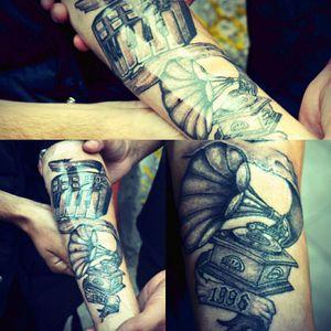 #tattooart #blackandgrey #grammaphone #mpk #1996 #musictattoo #process #talensindianink #nedzrotary