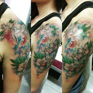 One more! In love with my orquídea 😍 #tattooedlady #orquidea #fullcollor #aquarelltattoo