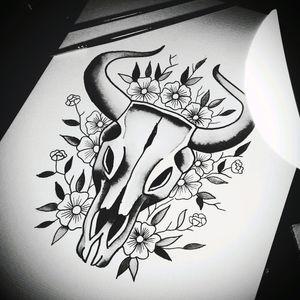 #skullflowers #skulltattoo  #blackwork