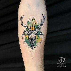 By #koraykaragozler #watercolor #geometric #deer #stag