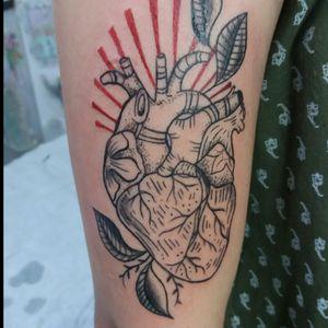#hearttattoo #anatomicalheart #flower #blackandredtattoo #neotraditional #pontilhismo #dotwork #dotworktattoo #aquilatattoo #carolinahelenaart