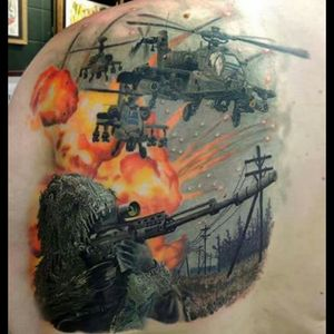 #military #colourfulltattoo #army #helicopter #sniper #tattoo