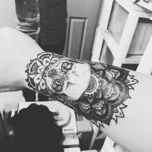 New tat, #mandala #skull #loveit  #getinked